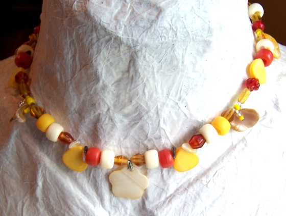 mother of pearl pony bead yellow red girl gift